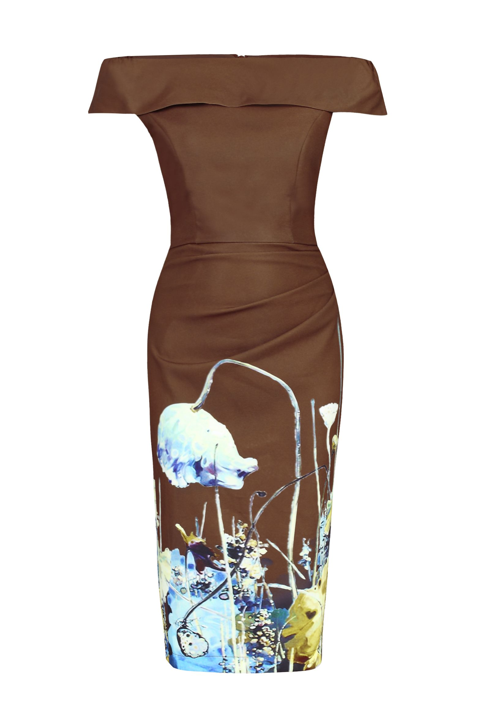 Jolie Moi Printed Bardot Neck Bodycon Dress, Brown