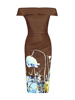 Printed Bardot Neck Bodycon Dress
