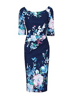 Retro Floral Half Sleeve Ruched Dress