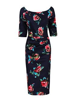 Floral Half Sleeve Ruched Shift Dress