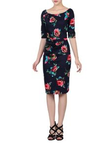 Jolie Moi Floral Half Sleeve Ruched Shift Dress