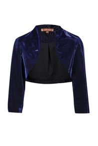Jolie Moi High Collar Metallic Bolero Jacket
