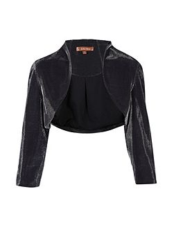 High Collar Metallic Bolero Jacket