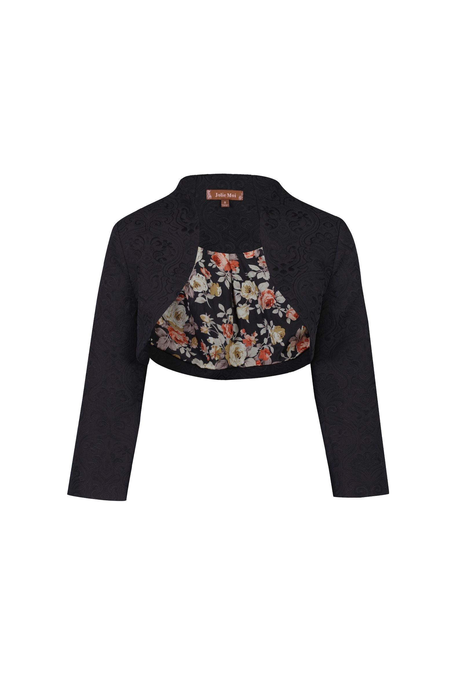 Jolie Moi High Collar  Bolero Jacket, Black