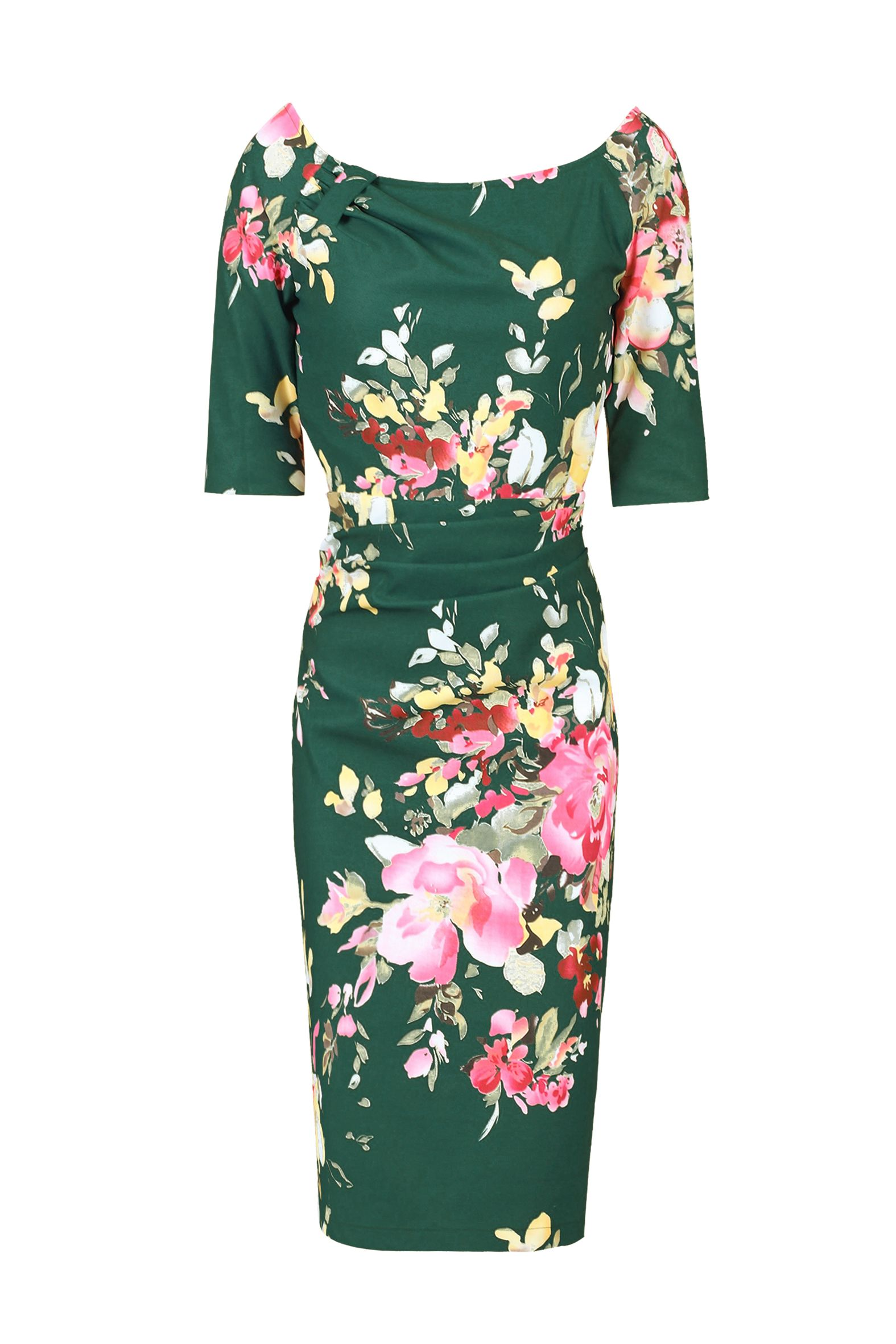Jolie Moi Retro Floral Half Sleeve Ruched Dress, Dark Green