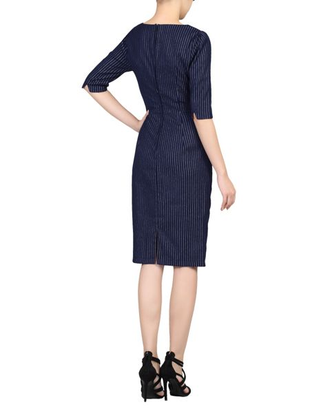 Jolie Moi Half Sleeve Striped Shift Dress