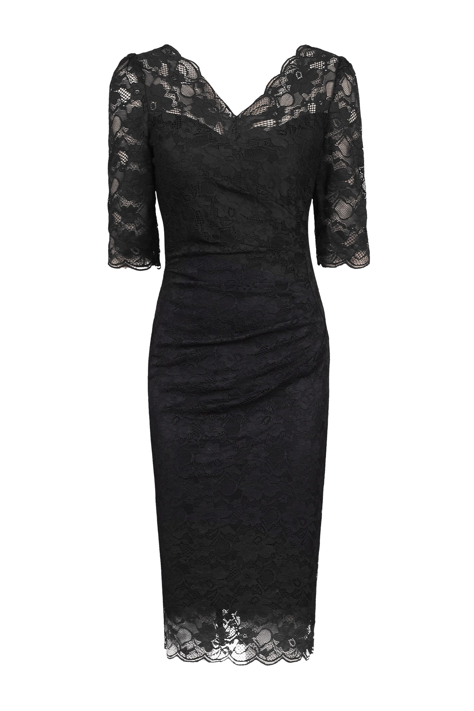 Jolie Moi 3/4 Sleeve Scalloped Lace Dress, Black