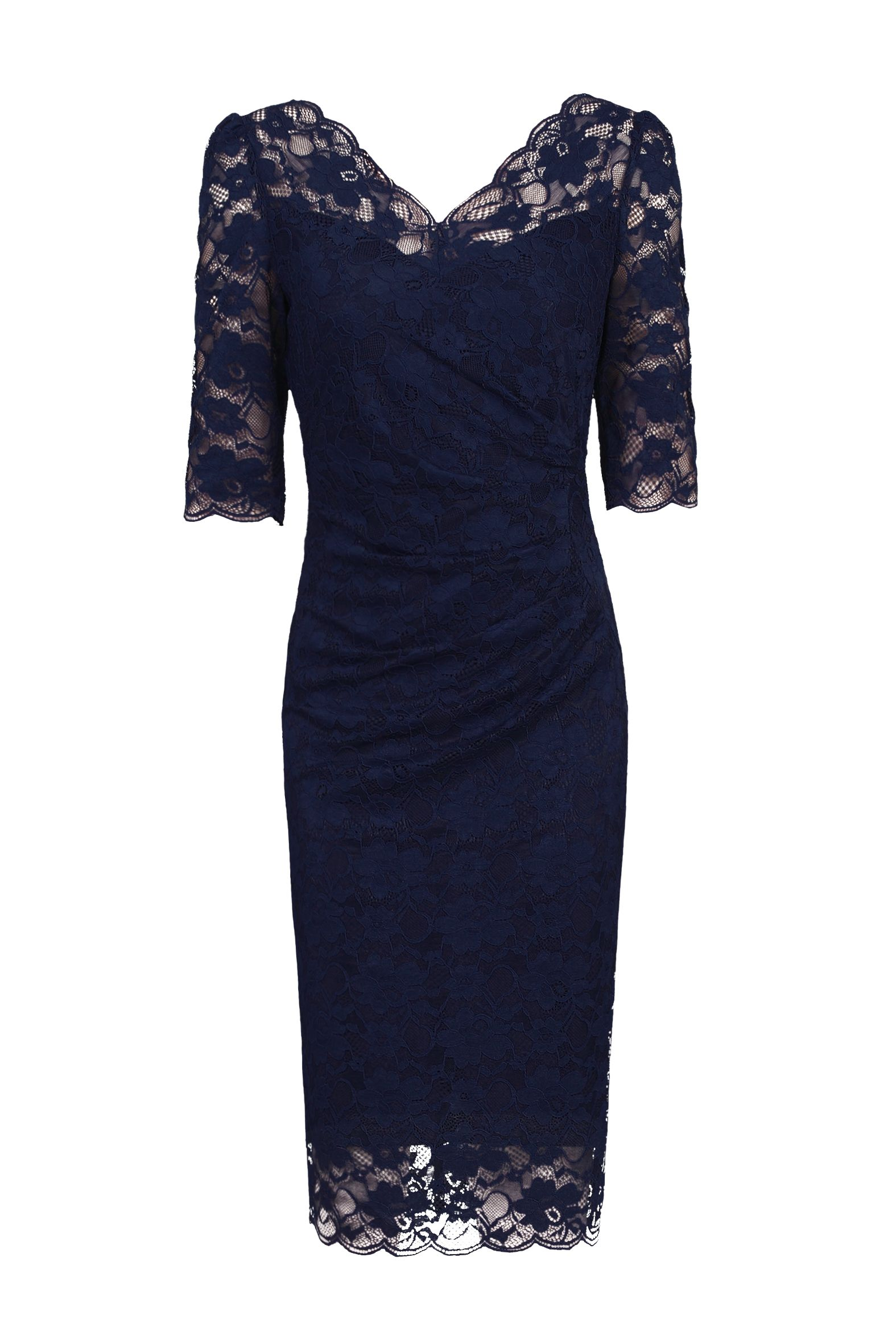 Jolie Moi 3/4 Sleeve Scalloped Lace Dress, Blue