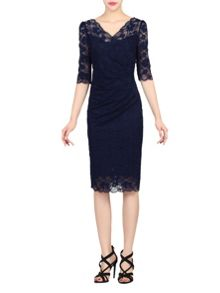 Jolie Moi 3/4 Sleeve Scalloped Lace Dress