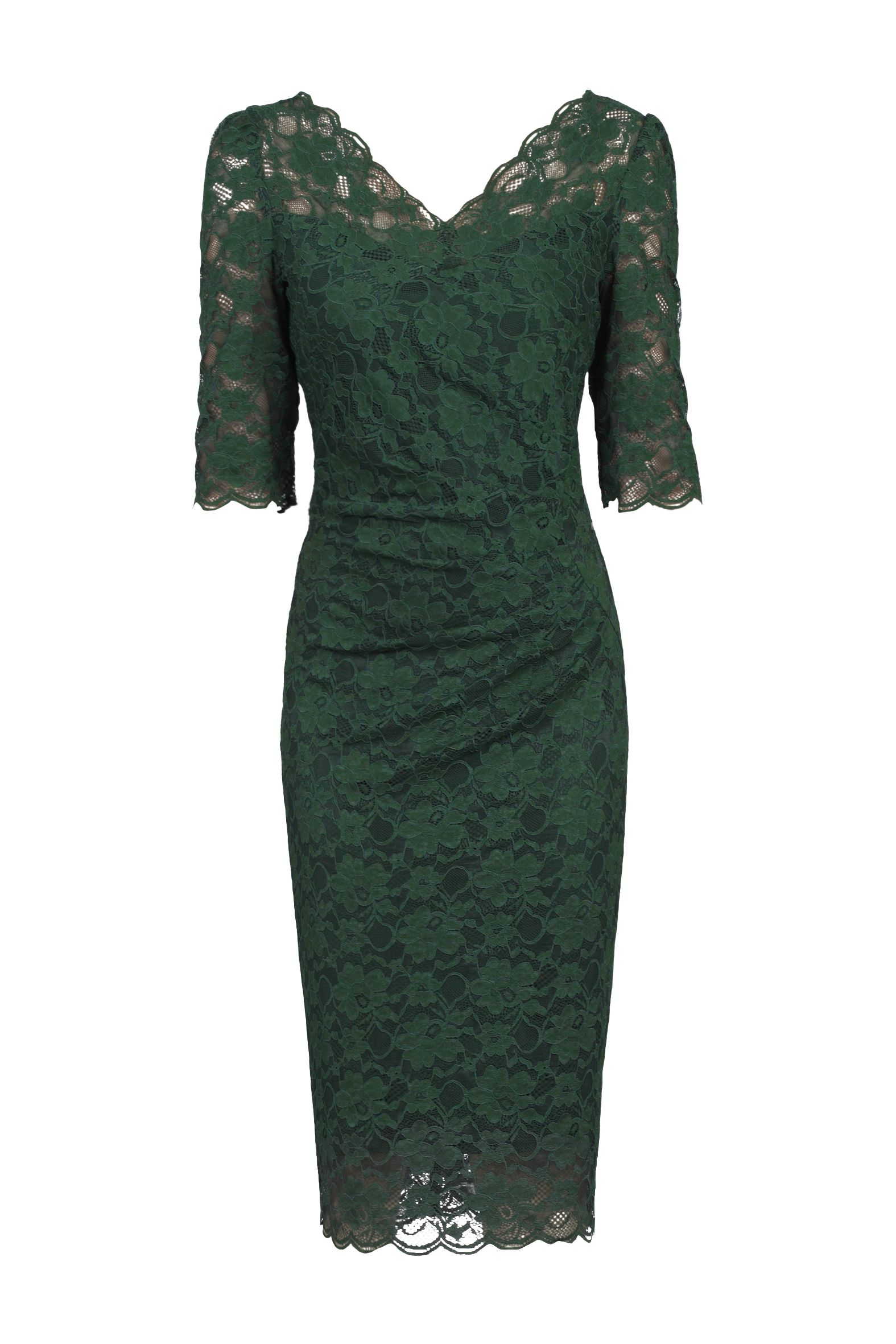 Jolie Moi 3/4 Sleeve Scalloped Lace Dress, Dark Green