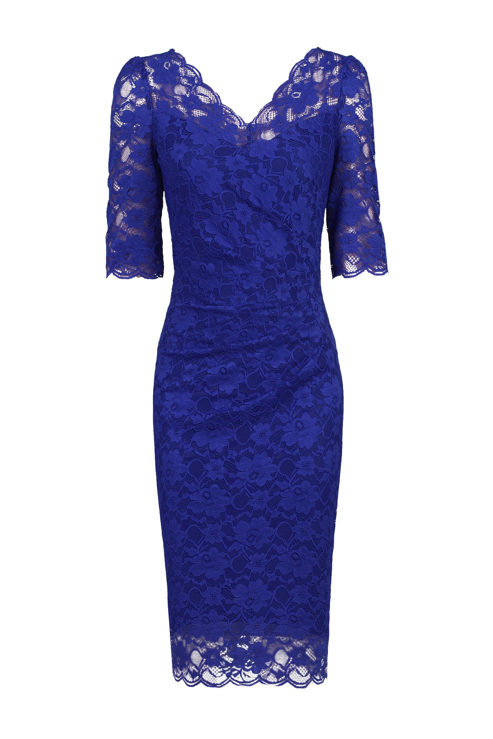 Jolie Moi 3/4 Sleeve Scalloped Lace Dress, Royal Blue