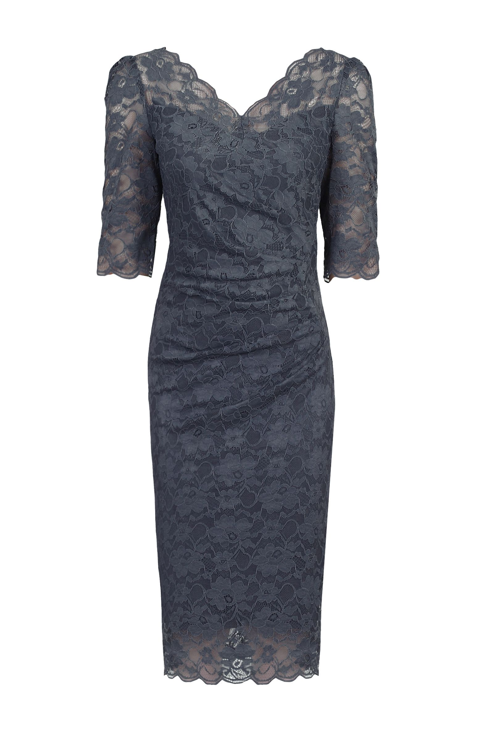 Jolie Moi 3/4 Sleeve Scalloped Lace Dress, Dark Grey