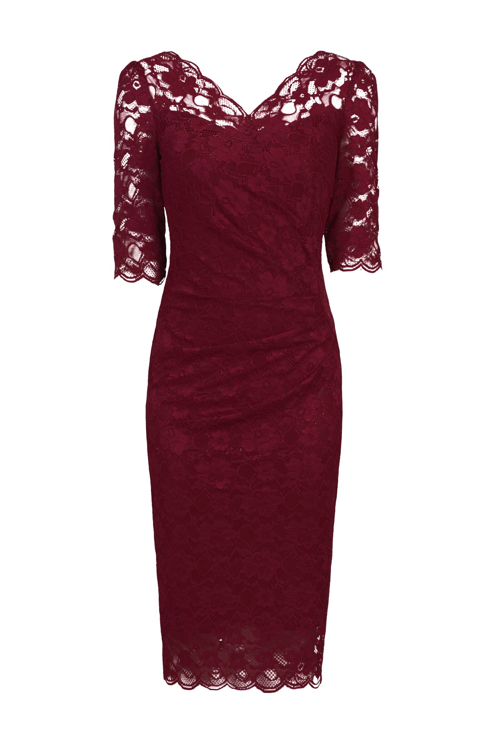 Jolie Moi 3/4 Sleeve Scalloped Lace Dress, Red