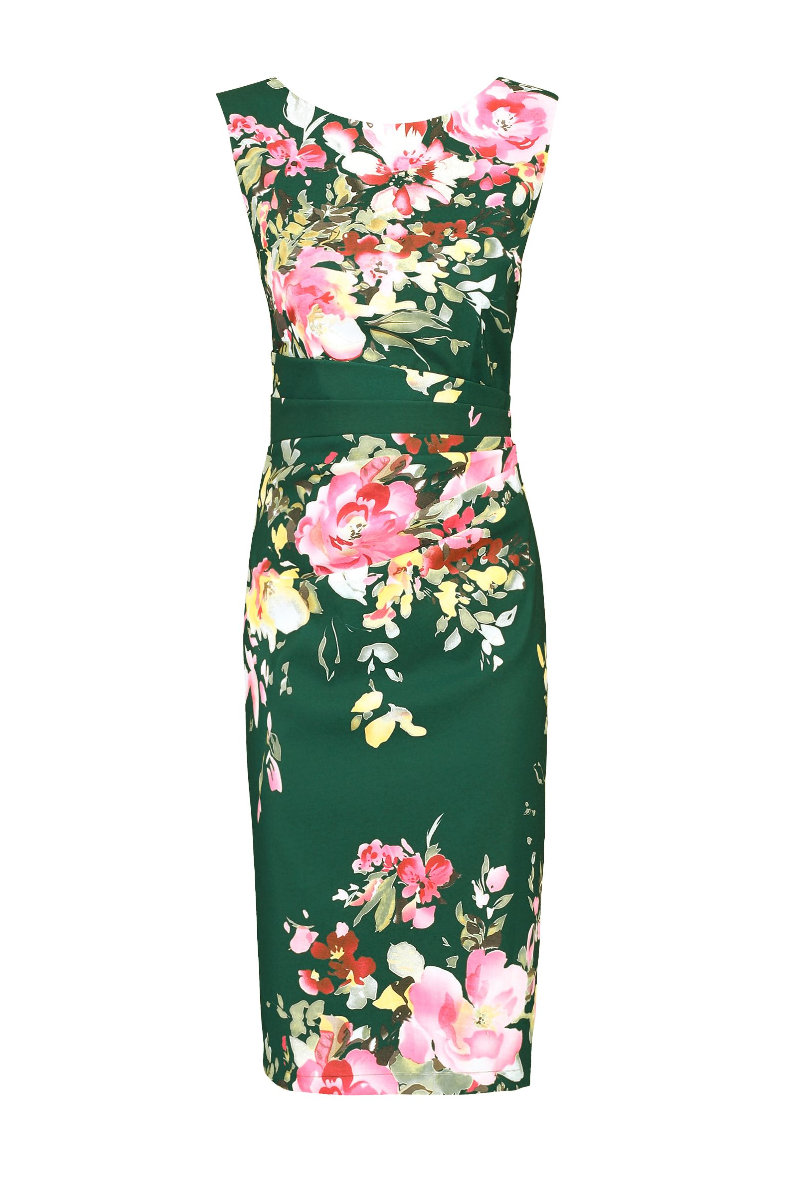 Jolie Moi Floral Print Ruched Shift Dress, Dark Green