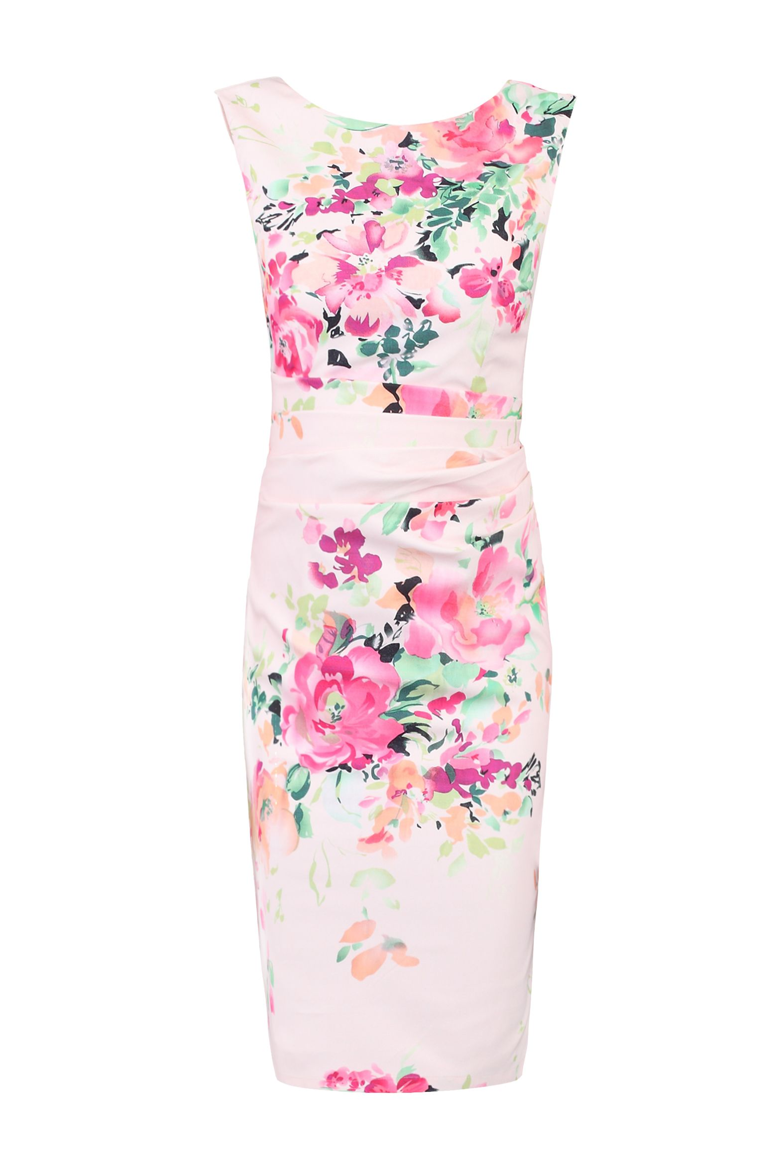 Jolie Moi Floral Print Ruched Shift Dress, Pink