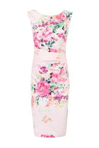 Jolie Moi Floral Print Ruched Shift Dress