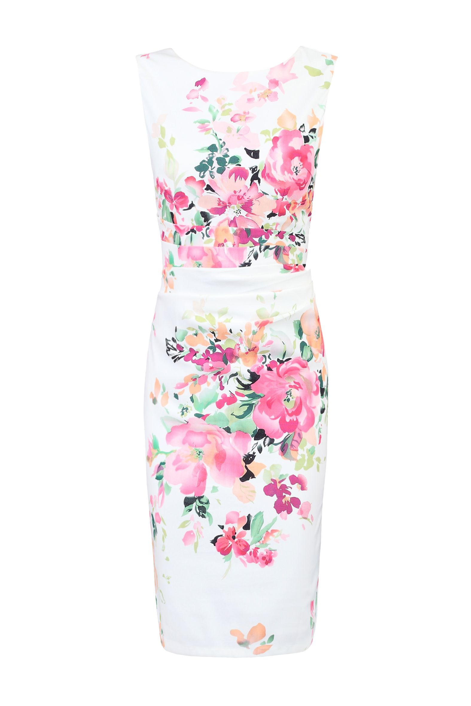 Jolie Moi Floral Print Ruched Shift Dress, White