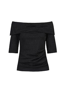 3/4 Sleeve Bardot Neck Top