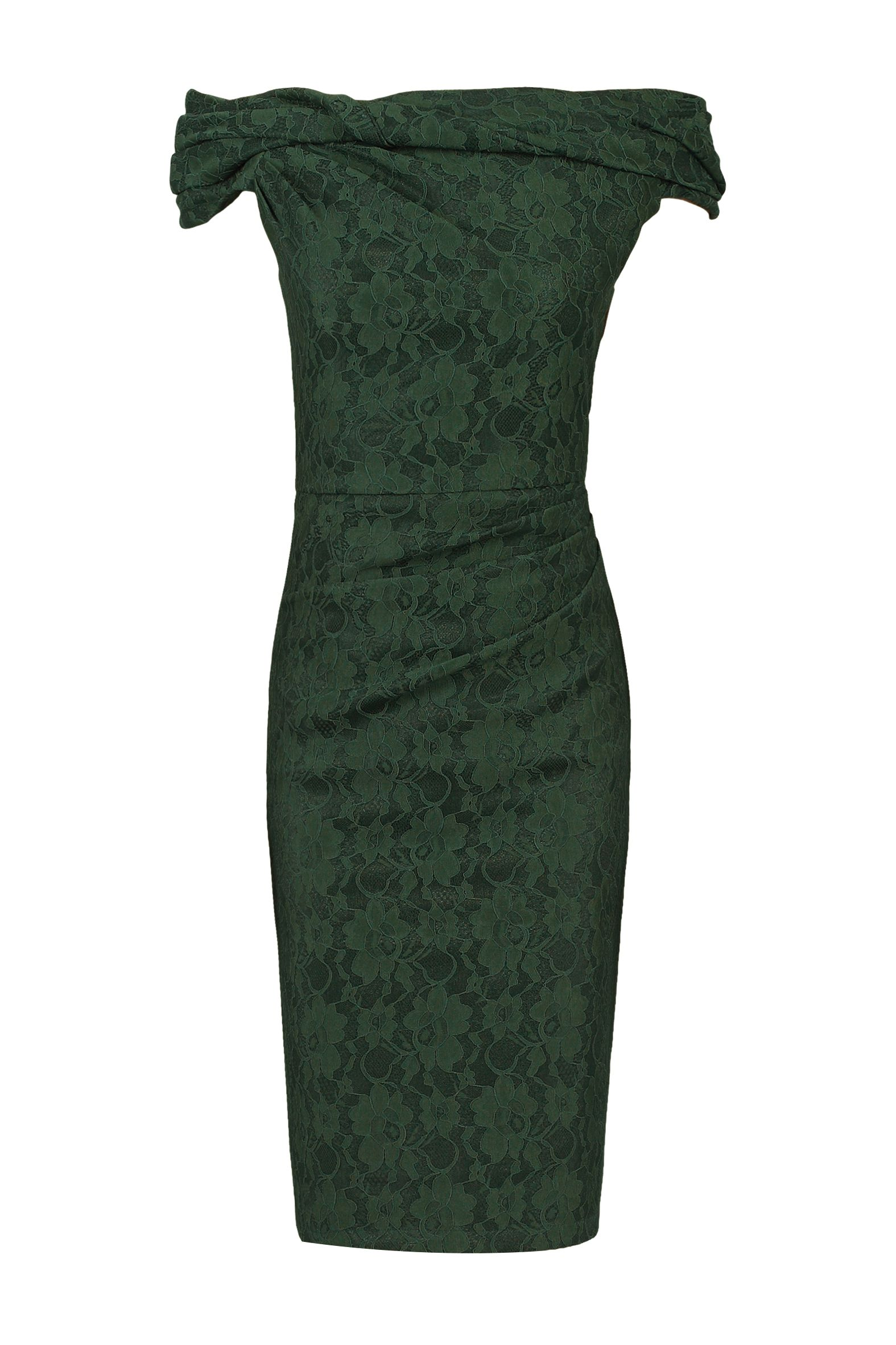 Jolie Moi Lace Bonded Bardot Neck Dress, Green