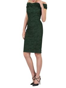 Jolie Moi Lace Bonded Bardot Neck Dress