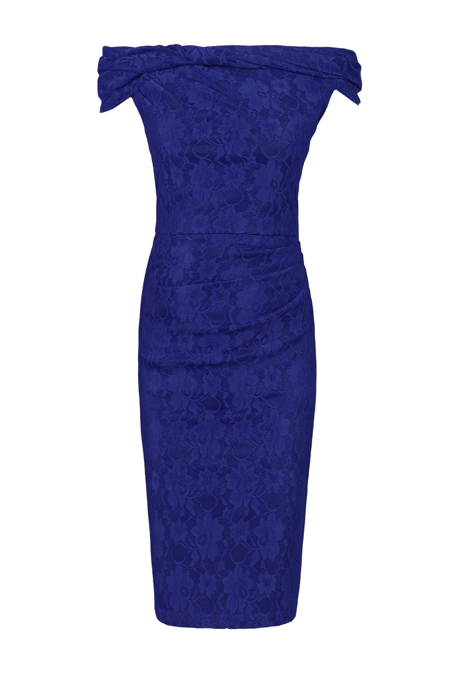 Jolie Moi Lace Bonded Bardot Neck Dress, Blue