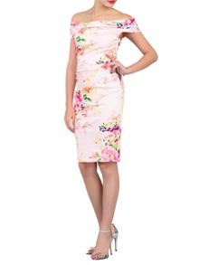 Jolie Moi Floral Print Bardot Neck Wiggle Dress
