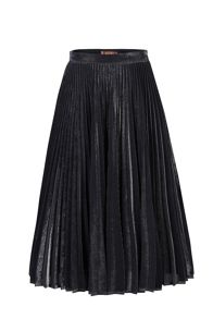 Jolie Moi Metallic Pleated A-Line Skirt