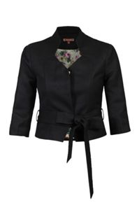 Jolie Moi 3/4 Sleeve High Collar Belted Blazer