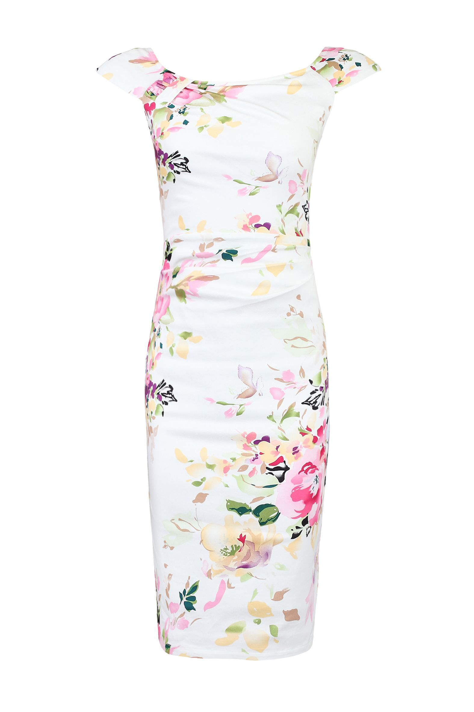 Jolie Moi Floral Print Ruched Wiggle Dress, White