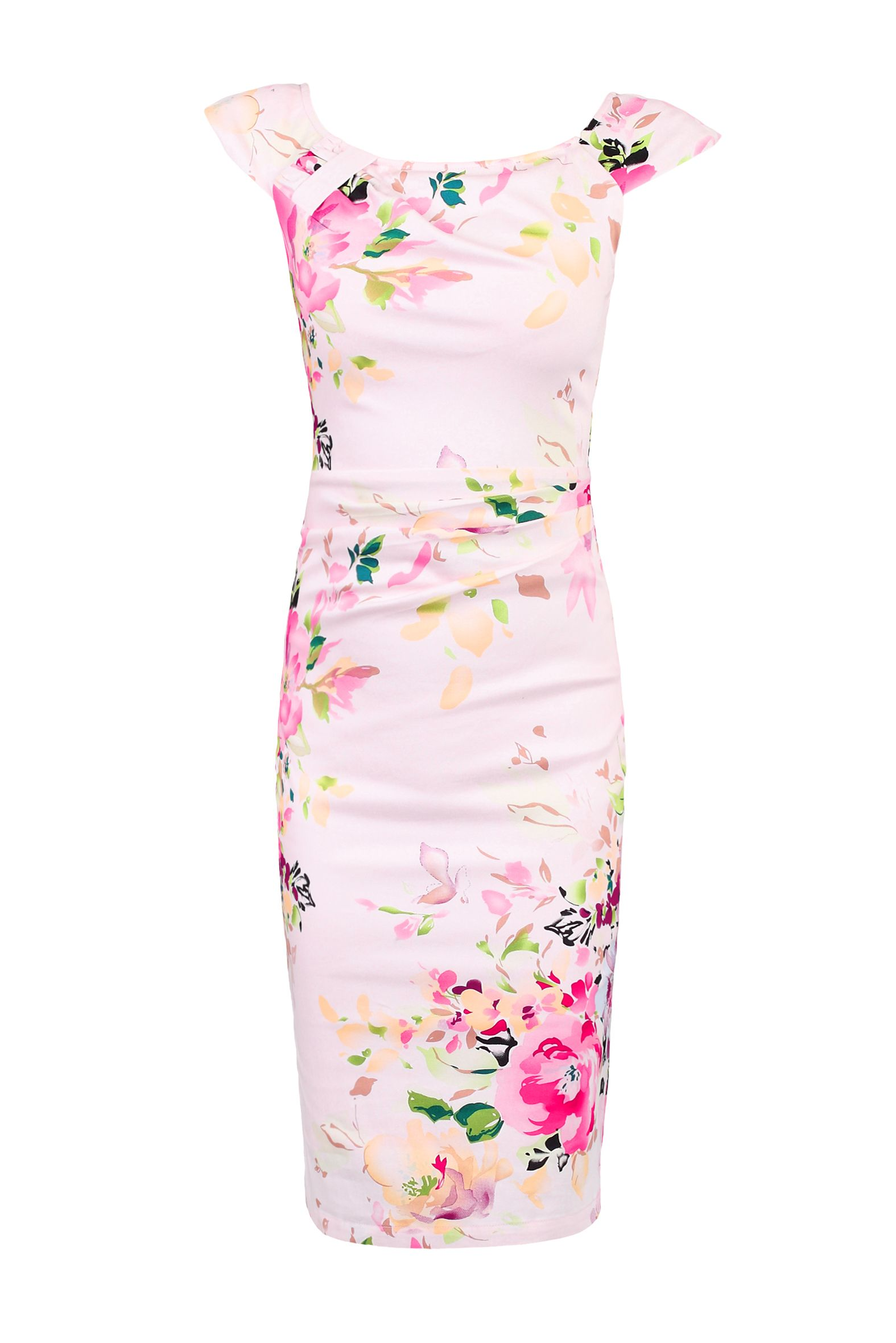 Jolie Moi Floral Print Ruched Wiggle Dress, Pink