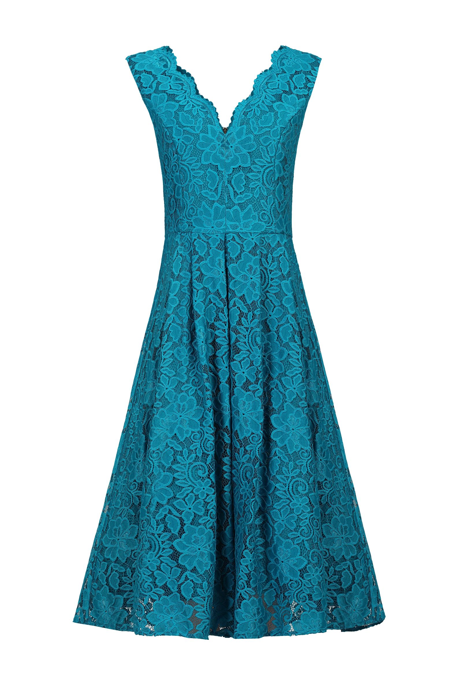 Jolie Moi Scalloped V Neck Pleated Prom Dress, Teal
