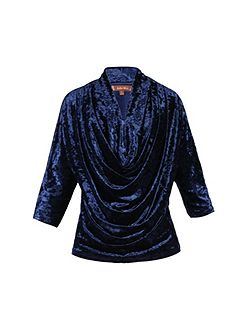 Cowl Neck Velvet Batwing Top
