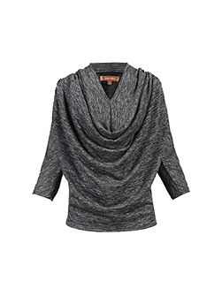 Cowl Neck Glitter Batwing Top