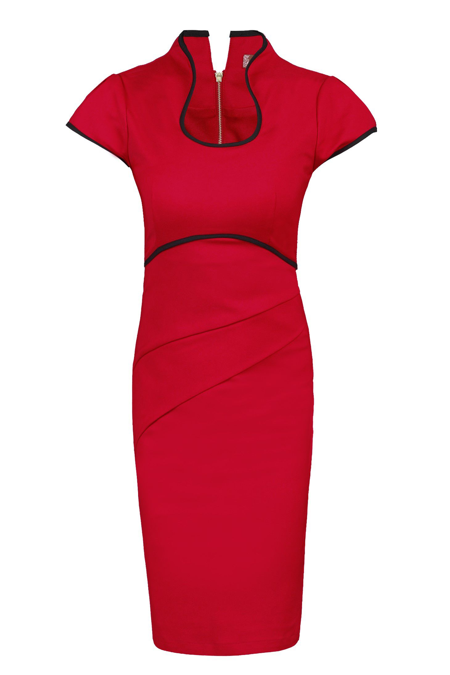 Jolie Moi Contrast Trimmed High Collar Dress, Red