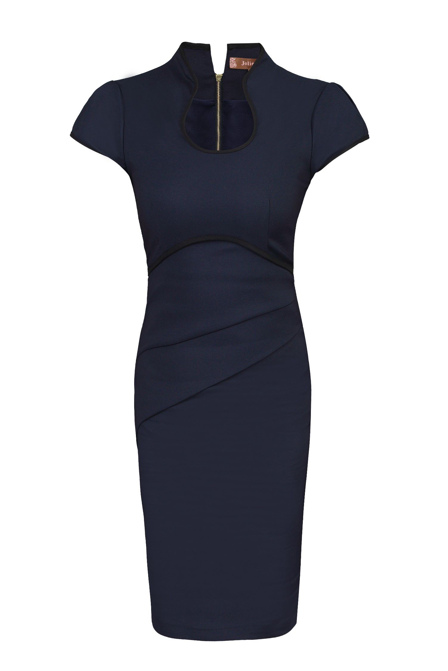 Jolie Moi Contrast Trimmed High Collar Dress, Blue