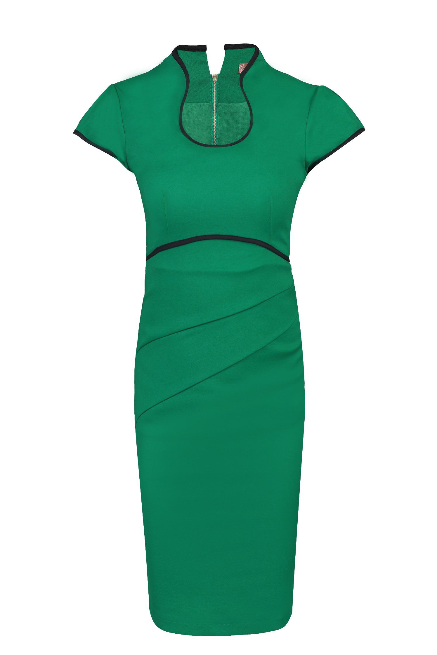 Jolie Moi Contrast Trimmed High Collar Dress, Green