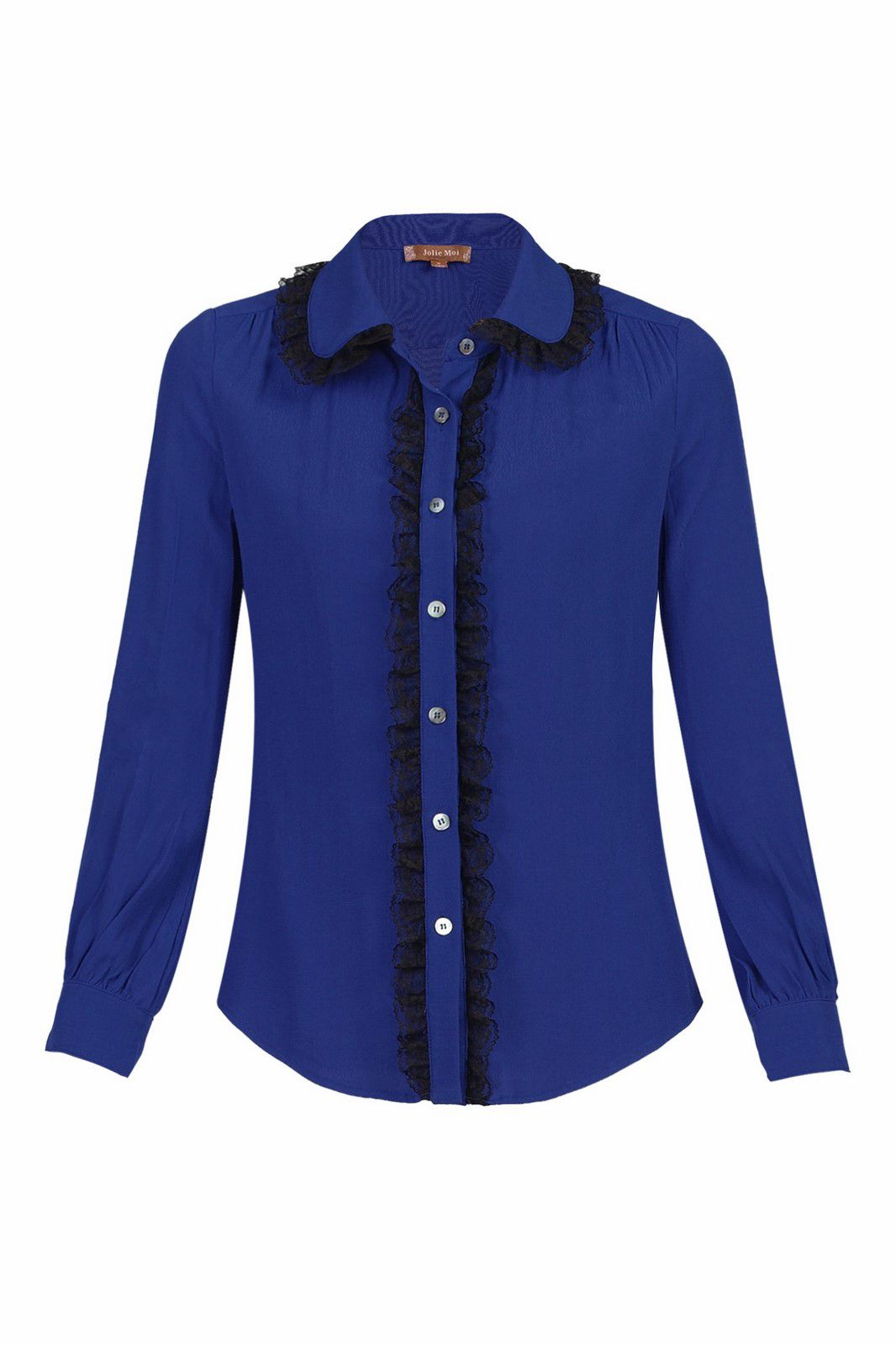 Jolie Moi Contrast Lace Trimmed Blouse, Royal Blue