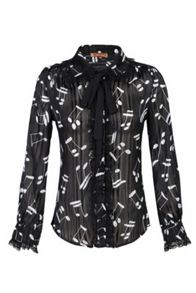 Jolie Moi Music Note Bow Tie Blouse
