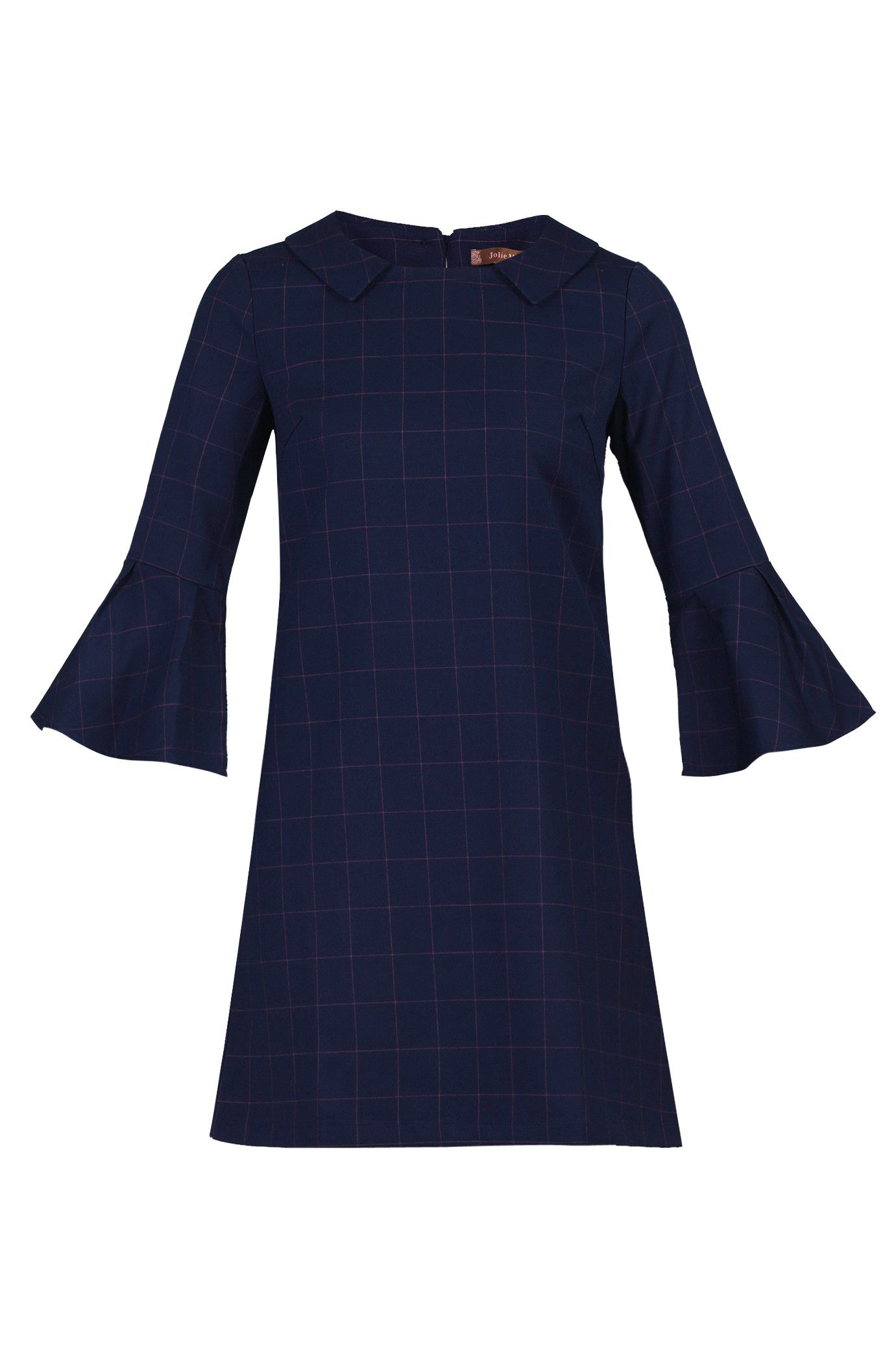 Jolie Moi Checked Fluted Sleeve Tunic, Blue