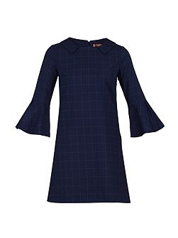 Checked Fluted Sleeve Tunic