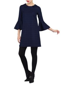 Jolie Moi Checked Fluted Sleeve Tunic