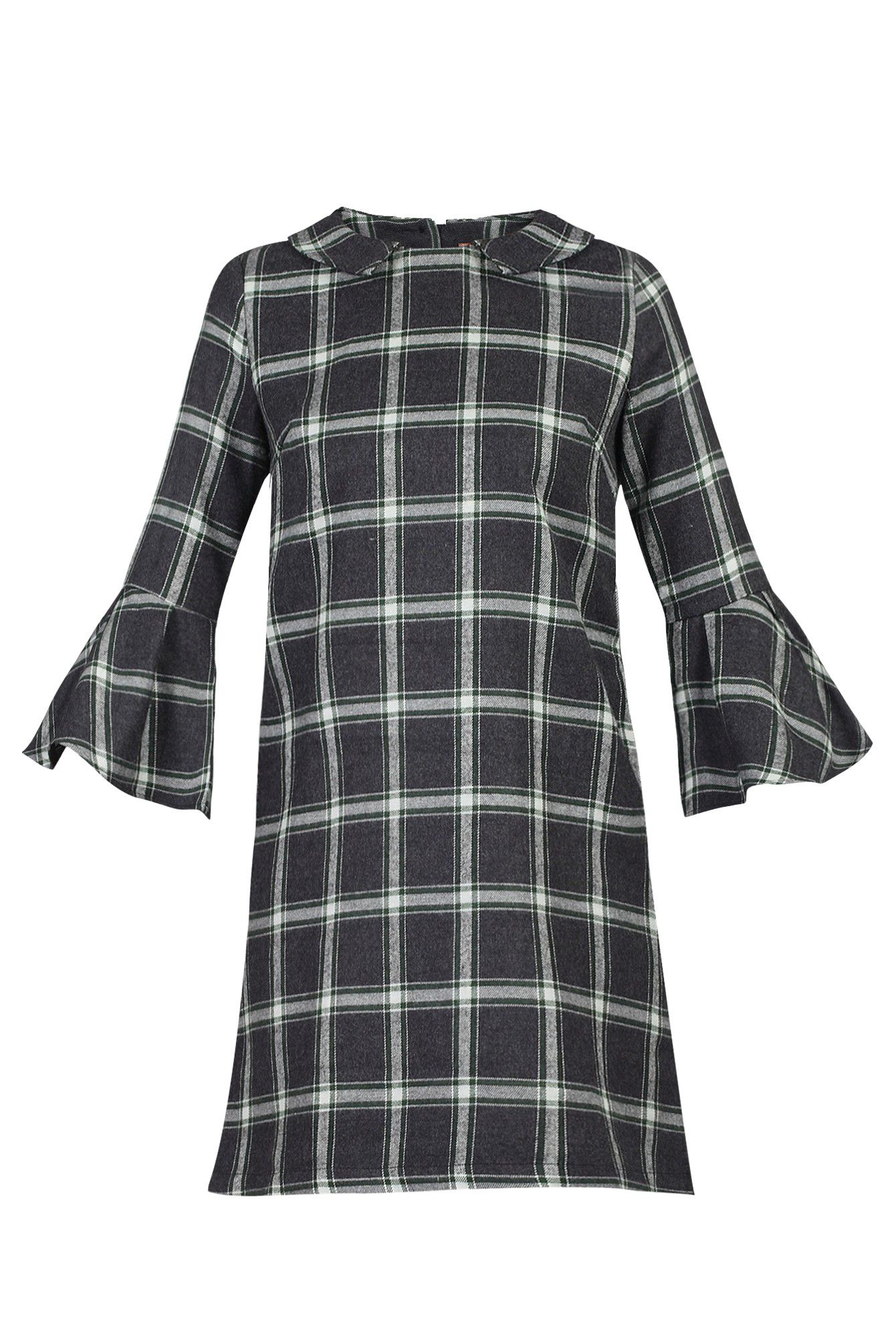 Jolie Moi Checked Fluted Sleeve Tunic, Green