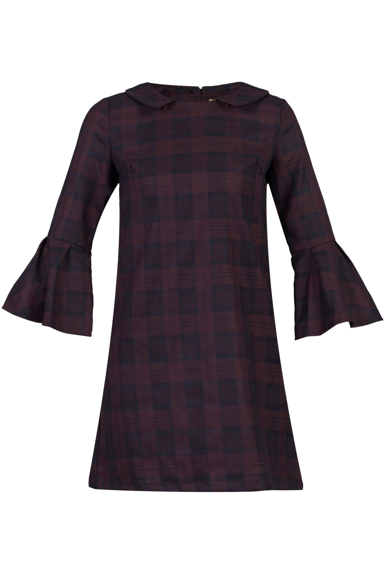 Jolie Moi Checked Fluted Sleeve Tunic, Black