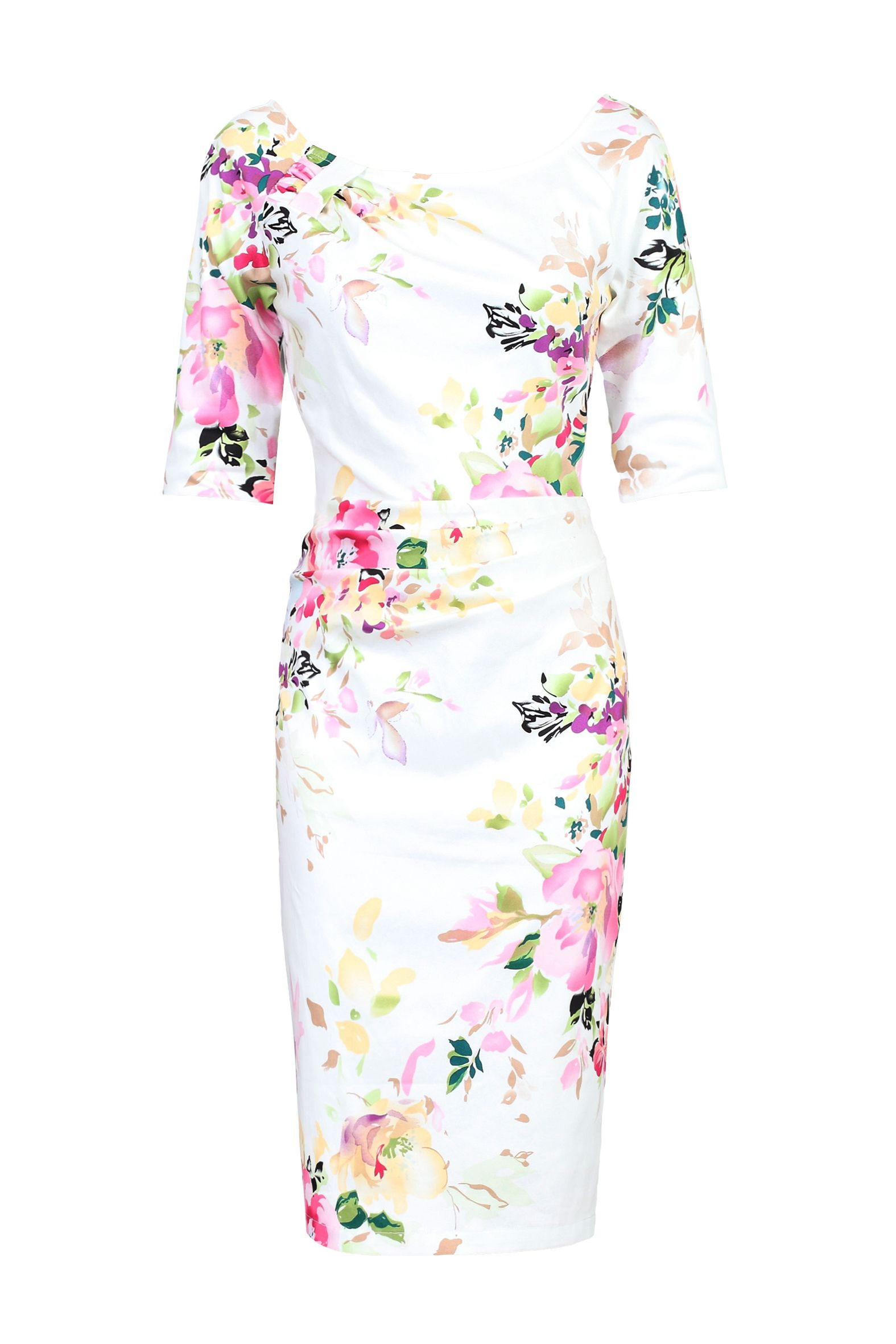 Jolie Moi Retro Floral Print Half Sleeve Dress, White