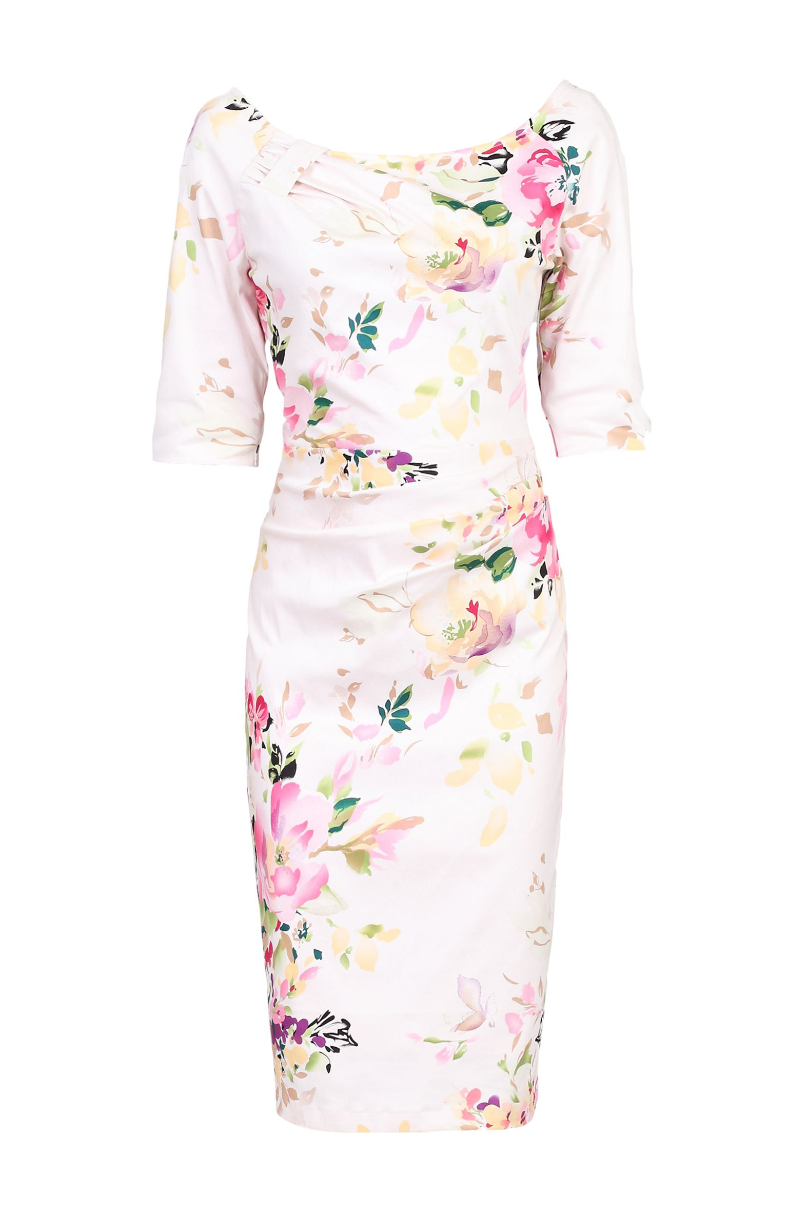 Jolie Moi Retro Floral Print Half Sleeve Dress, Pink