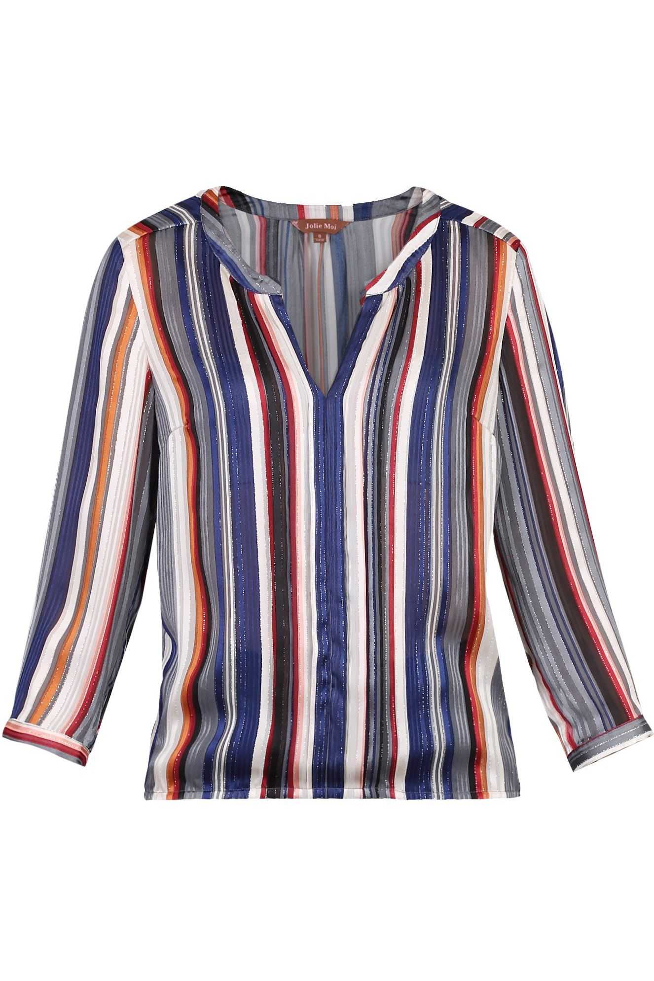 Jolie Moi Striped  Pleat Detail Blouse, Blue