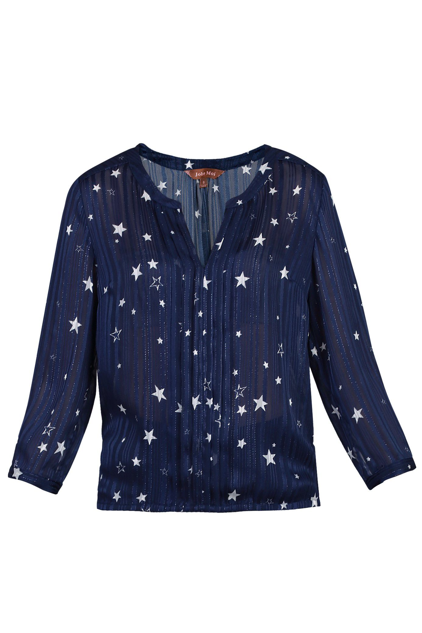 Jolie Moi Star Print Pleated V Neck Blouse, Blue
