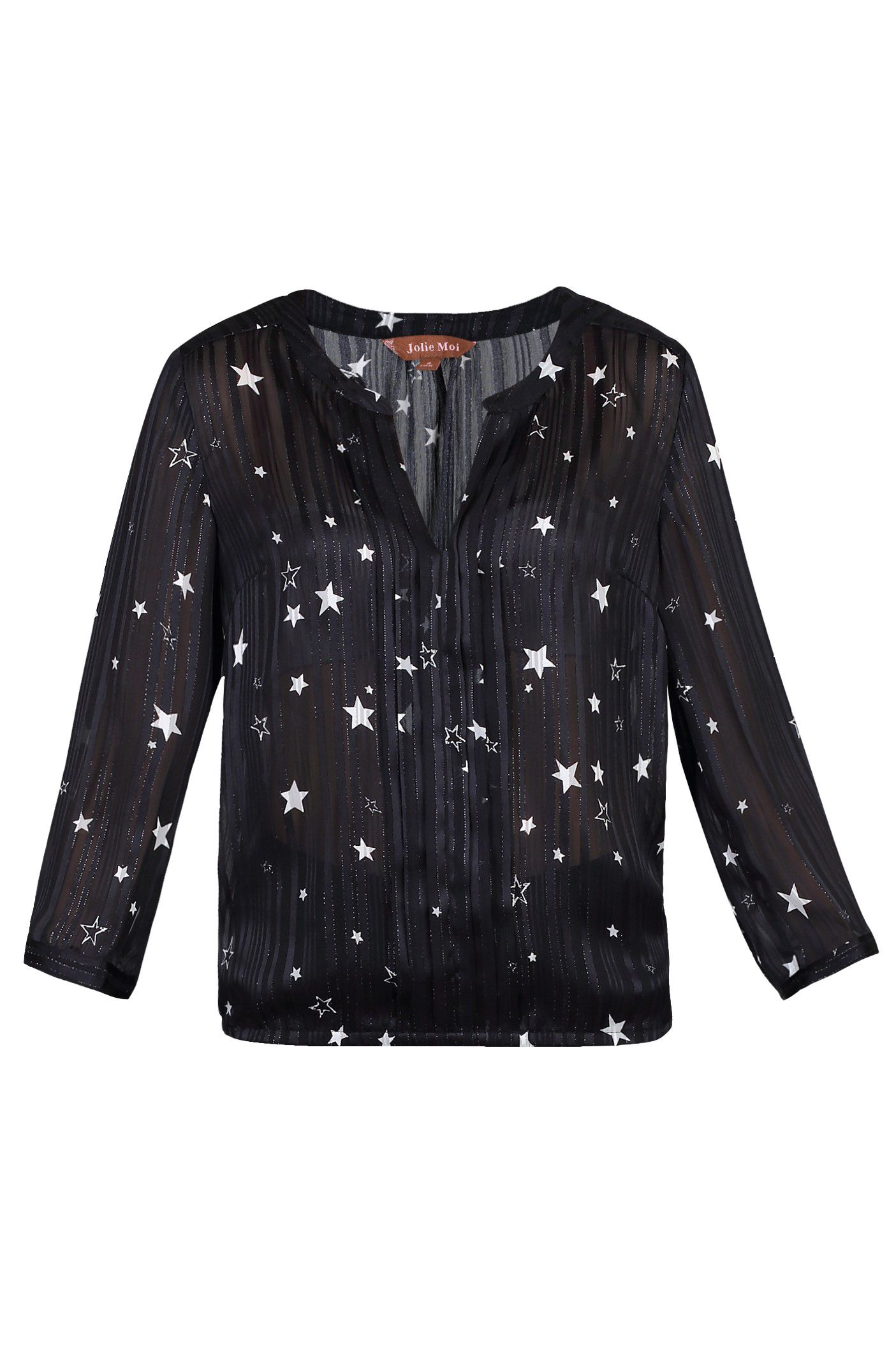 Jolie Moi Star Print Pleated V Neck Blouse, Black
