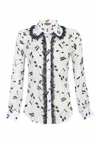 Jolie Moi Music Note Printed Blouse
