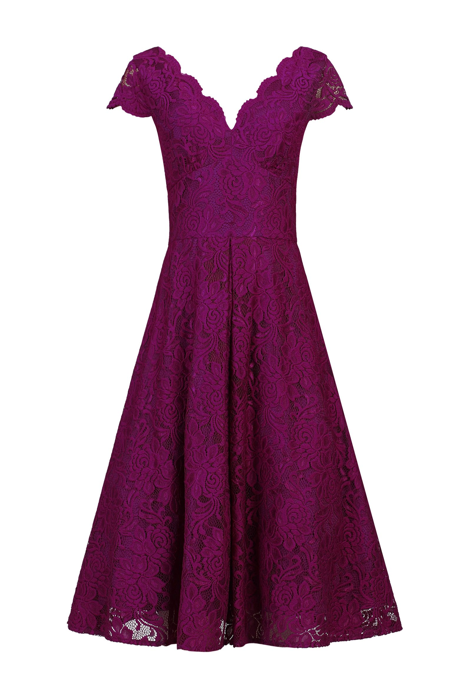 Jolie Moi Cap Sleeve Scalloped Lace Dress, Dark Purple